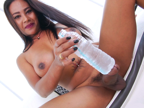 Buxom Tatted Chinese Ladyboy Jasmine Jacks Gigantic Man Rod