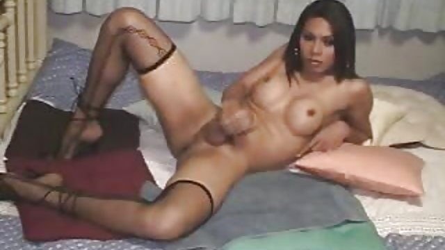 T-girl Tranny Blows A Load Three