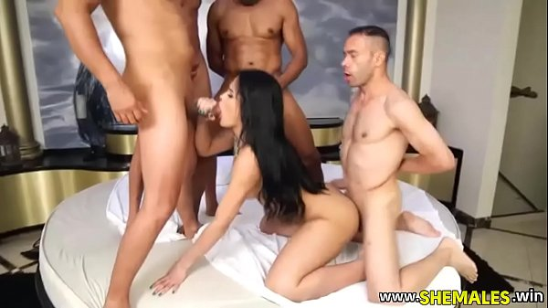 She-male Latina Will Get Gang-fucked By Way Of Four Studs