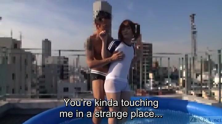 Subtitled Chinese Crossdresser Kaoru Oshima Rooftop Hand-job