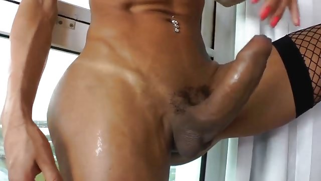 She-male Sabrina Wanks Her Enormous Rock Hard Contraption